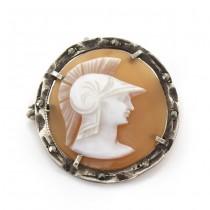 Broșă - pandant Art Deco din argint decorat cu o camee naturală Pallas Athena - Minerva | Franța cca. 1930