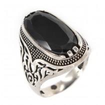 Inel bărbătesc din argint decorat cu hematit natural | manufactură de atelier oriental | Egipt