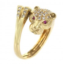 Inel Art Deco Panthere din aur 18k incrustat cu diamante și rubine naturale | Franța cca. 1950 - 1960