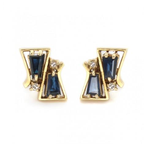 Cercei mid-century din aur cu diamante și safire naturale   design constructivist   Germania cca. 1960