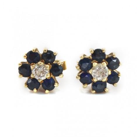 Rafinați cercei din aur 18K cu safire și diamante naturale   Franța cca.1960
