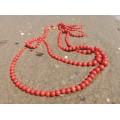 Colier double-strand de coral roșu de Sardinia & aur 14 K | cca. 1950 - 1970