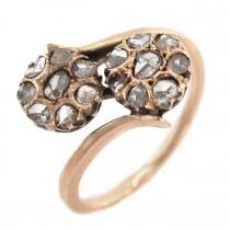 Inel victorian Me & You din aur roșu decorat cu diamante naturale | Marea Britanie cca. 1880 - 1900