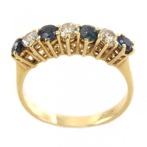 Inel Art Deco din aur 18 K decorat cu safire 0.50 CT și diamante naturale 0.37 CT    Franța cca. 1940 - 1960