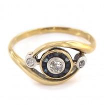 Rafinat inel Art Nouveau Turbillon decorat cu diamante și safire naturale | Franța cca.1910