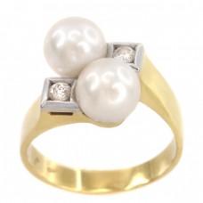 Inel stil Art Deco din aur 18 k decorat cu diamante și perle naturale de cultură | cca. 1970