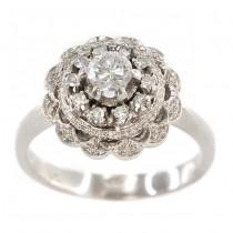 Rafinat inel Art Deco din aur alb 18K decorat cu diamante naturale 0.50 ctw | manufactură de atelier piemontez | cca. 1950