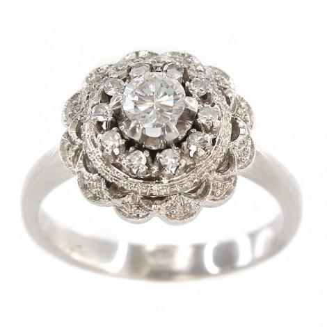 Rafinat inel Art Deco din aur alb 18K decorat cu diamante naturale 0.50 ctw   manufactură de atelier piemontez   cca. 1950
