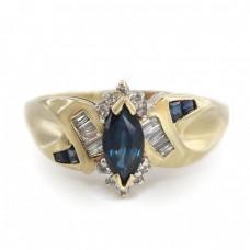 Inel retro-modernist din aur 14k decorat cu diamante și safire naturale | atelier JCM - London