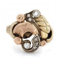 Inel statement Art Nouveau din aur 14K decorat cu diamante naturale 0.20 CT | manufactură de atelier austriac | cca. 19o0 -1920