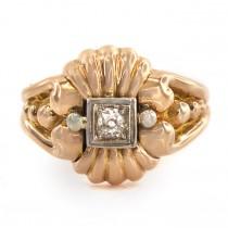 Inel Etruscan Revival din aur decorat cu diamant natural 0,24 CT | atelier Vogliolo Paolo | anii '40