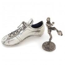 Miniaturi din argint cu tematică fotbalistică | Gheată de fotbal & jucător de fotbal | Italia