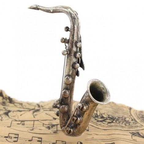 Miniatură saxofon din argint   manufactură de atelier Arezzo   Italia  cca. 1970
