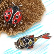 Miniaturi din argint emailat Pește & Gărgăriță