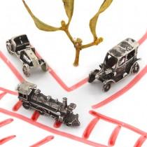 Miniaturi mașini de epocă și locomotivă din argint | Italia