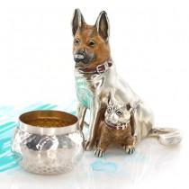 Miniaturi din argint câini Ciobănesc german | Mama & puiul | argint parțial emailat