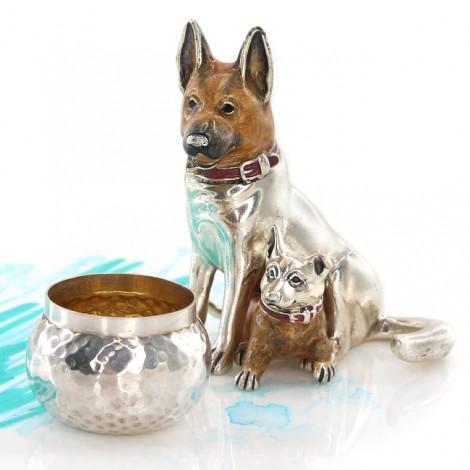Miniaturi din argint câini Ciobănesc german   Mama & puiul   argint parțial emailat