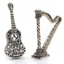 Miniaturi din argint cu tematică muzicală: Harpă și Chitară