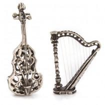 Miniaturi din argint cu tematică muzicală: Harpă și Violoncel