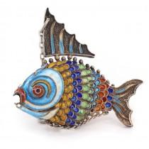 Vechi pandant vinaigrette stilizat sub forma unui pește Koi | argint filigranat & emailat champlevé | China cca. 1910