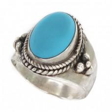 Inel etnic manufacturat în argint decorat cu turcoaz faux | inel unisex | Bali - Indonezia