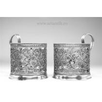 set suporturi pentru pahare. filigran de cupru argintat. Rusia cca 1940