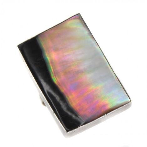 Inel statement modernist decorat cu sidef natural iridescent   manufactură în argint   Indonezia