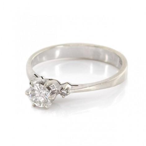 Inel de logodnă aur alb 18k decorat cu diamante naturale 0.34 CTW | Franța