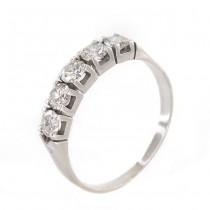 Inel Art Deco din aur alb 18 K decorat cu suită de 5 diamante naturale 0.75 CT | Marea Britanie cca.1940