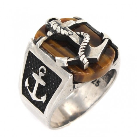 Inel bărbătesc decorat cu simboluri marinărești și anturaj ochi de tigru | Navy Anchor | Statele Unite