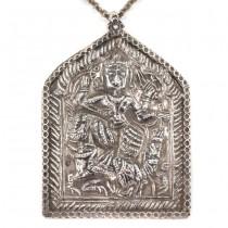 Colier cu veche amuletă hindusă | Krishna & Navagunjara | manufactură în argint | India | început de secol XX