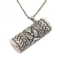 Colier accesorizat cu pandant etui - relicvariu hindus | manufactură în argint | India