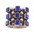 Inedit inel vintage modernist manufacturat în argint decorat cu anturaje de lapis lazuli natural | cca.1970