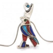 Colier vintage cu impresionantă amuletă egipteană | Horus | argint & intarsie de email