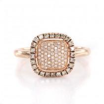 Rafinat inel din aur roz 14K decorat cu diamante naturale 0.38 CT | atelier Ash Hilton | Noua Zeelandă cca. 2010