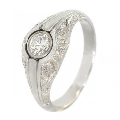 Inel bărbătesc Art Deco din aur alb 18K decorat cu diamant natural 0.42 CT | Franța cca. 1930