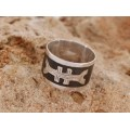 Inel amuletic tuareg Crucea Agadez & Ezza    Men Size   argint & furnir de abanos   manufactură   Niger