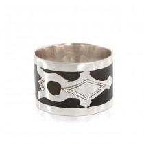 Inel amuletic tuareg Crucea Agadez & Ezza  | Lady Size | argint & furnir de abanos | manufactură | Niger