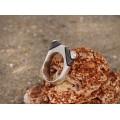 Inel modernist tuareg manufacturat în argint intarsiat cu lemn de abanos | Serie Limitată | Niger