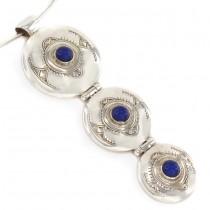 Colier choker cu  amuletă tuaregă | argint & agat albastru | manufactură unicat | Niger