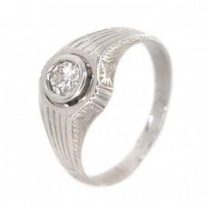 Inel bărbătesc Art Deco din aur alb 18K decorat cu diamant natural 0.39 CT | Franța cca. 1920 -1930