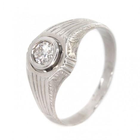 Inel bărbătesc Art Deco din aur alb 18K decorat cu diamant natural 0.39 CT   Franța cca. 1920 -1930