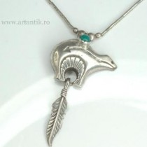 "colier amerindian cu amuleta ""spirit bear"". argint & turcoaz Royston. marcaj de atelier"