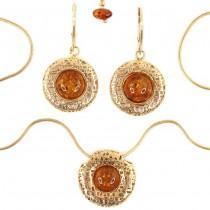 Set de bijuterii | colier și cercei | argint aurit & chihlimbar natural | Polonia | Bijuterie noua !