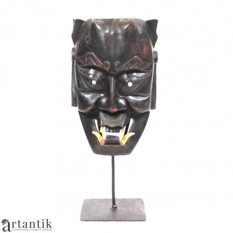 Spectaculoasă mască japoneză | Hannya | sculptură în lemn ebenizat