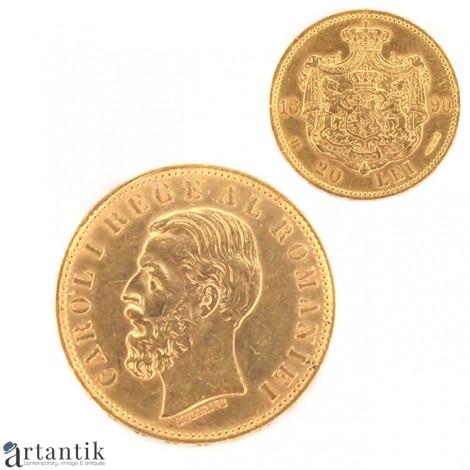 """Monedă  Aur 22k  """" PATRIA și DREPTUL MEU """"   Carol I   20 lei 1890  """