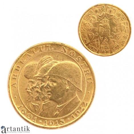 """Monedă jubiliară """" Ardealul Nostru """"   Aur 22k   1944  România"""