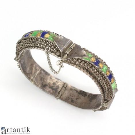 RAR : Veche brațară tribală Kabyle | argint & email | sec. XIX  | Algeria