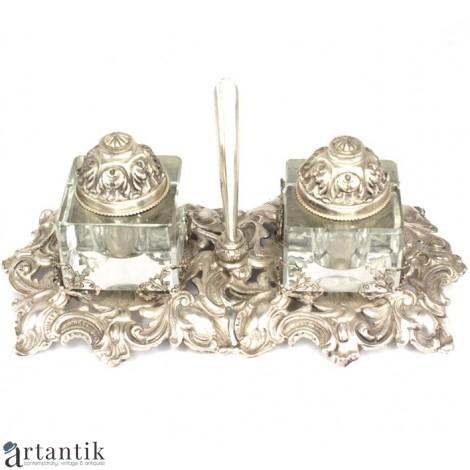 Splendidă encrieră neoclasică din argint & cristal bizotat | atelier Peruggia & C. | Italia cca.1940