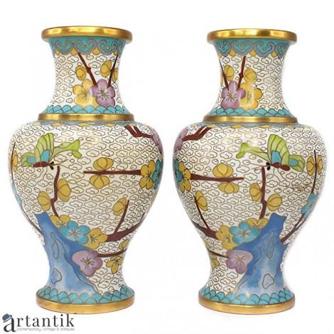 Splendidă garnitură de vaze chinezești, decorate prin tehnica cloisonné Jingfa | cca. 1970